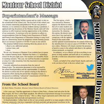 Montour School District Newsletter - January 2021