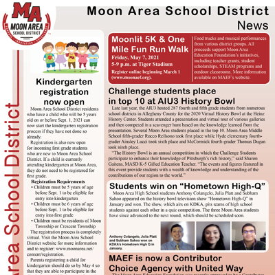 Moon Area School Distict News - March 2021