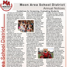 Moon Area School District official notices